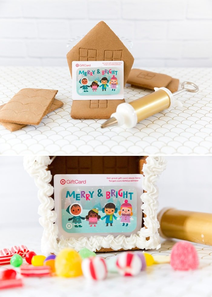 Make a gingerbread house with a gift card opening!