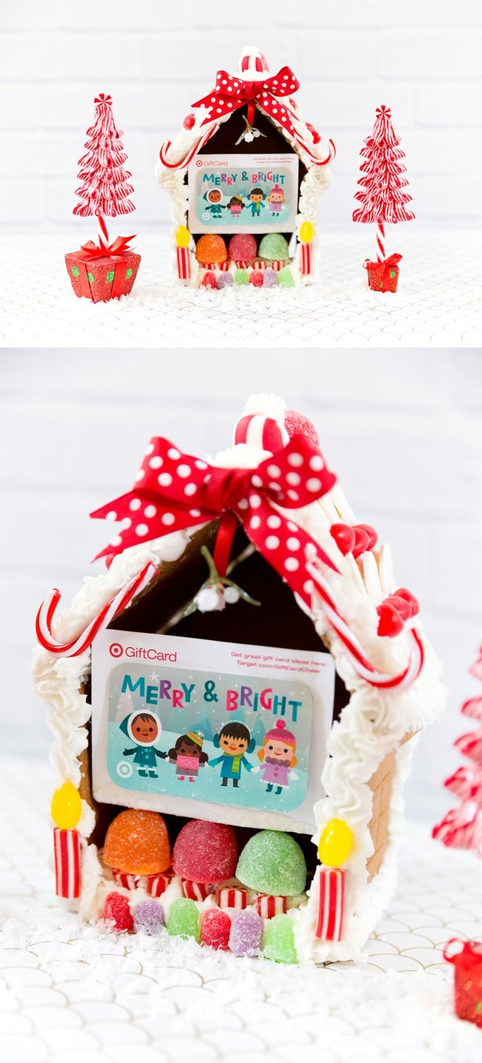 Create a gingerbread house to give a gift card, cute + creative way to give a gift card for Christmas holidays!
