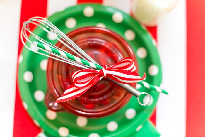 Cute place settings for a holiday baking party!