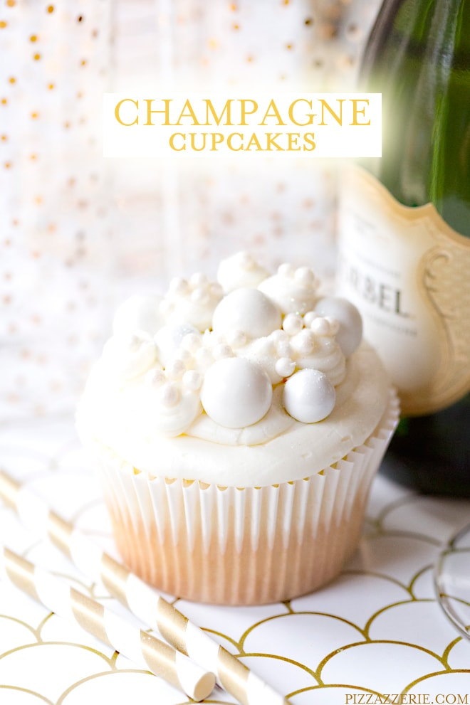 New Year's Eve Dessert: Champagne Cupcakes with Champagne Buttercream! Pizzazzerie.com