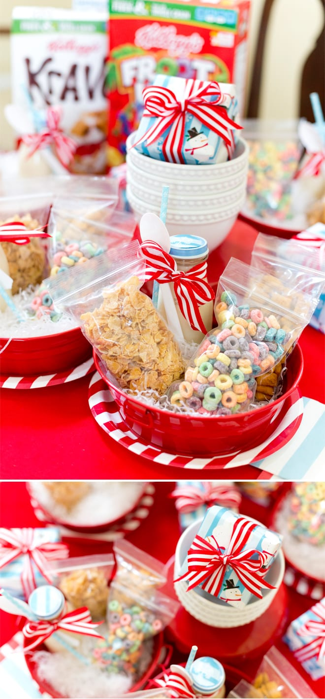 How to host a Christmas movie party! Cute ideas for individual milk and cereal settings! #nitebites