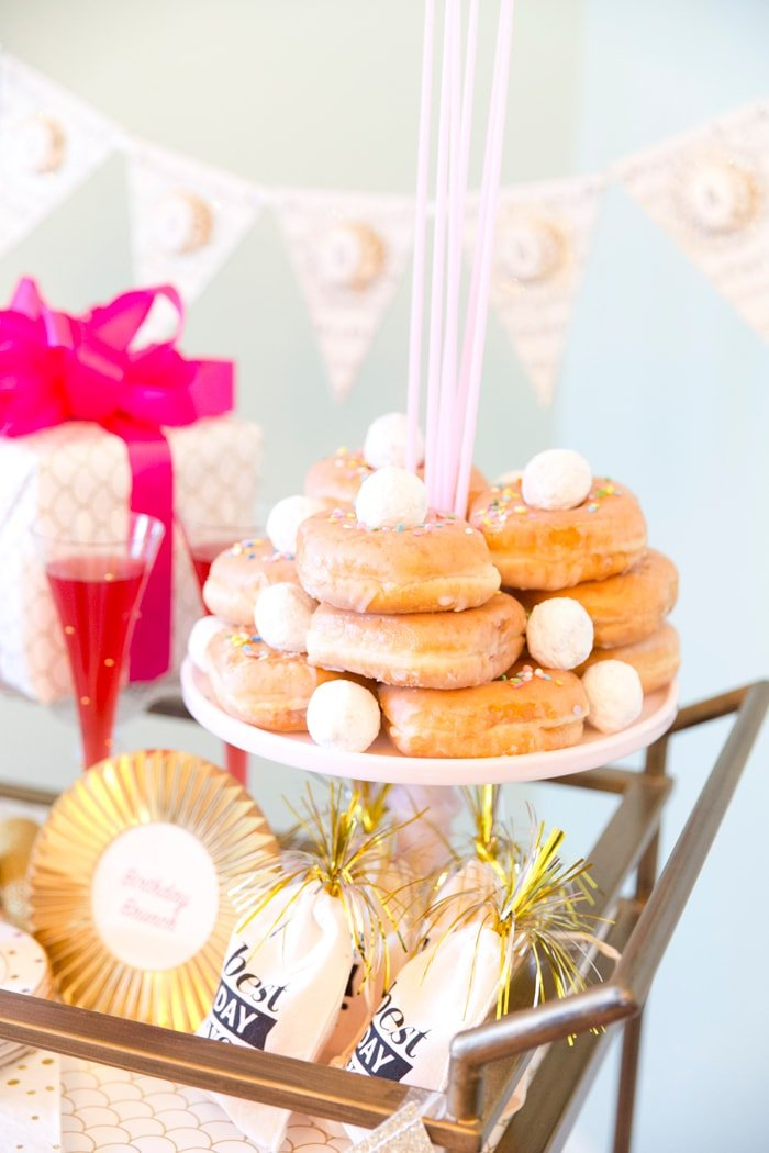 Birthday Donut Cake for a Brunch Party