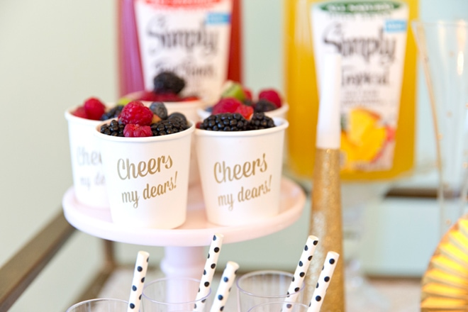 Boozy Berry Cups, Fruit Salad topped with a Champagne Berry Glaze!