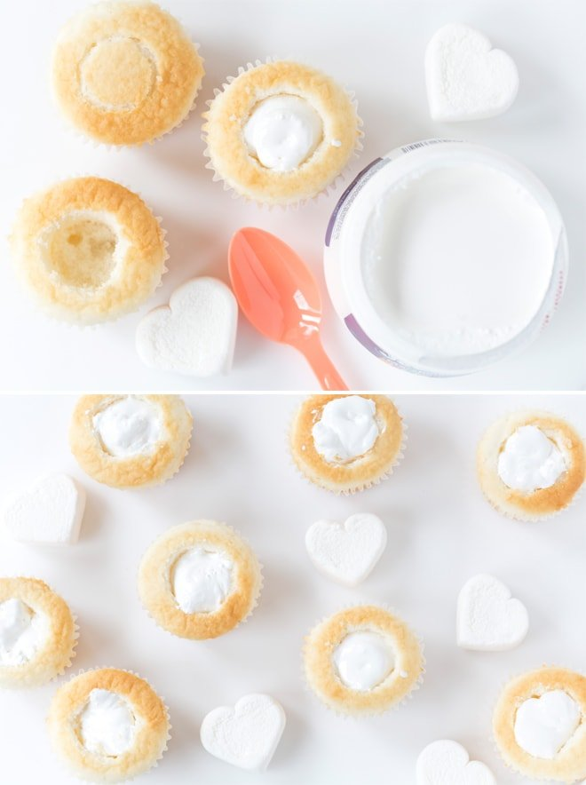 Filled Marshmallow Cupcakes How-To | Pizzazzerie.com