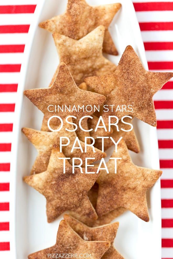 Cinnamon Sugar Stars with Chocolate Dipping Sauce, perfect for the Oscars + Award Season! Pizzazzerie.com
