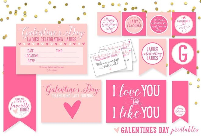 Free Galentine S Day Party Printables Pizzazzerie