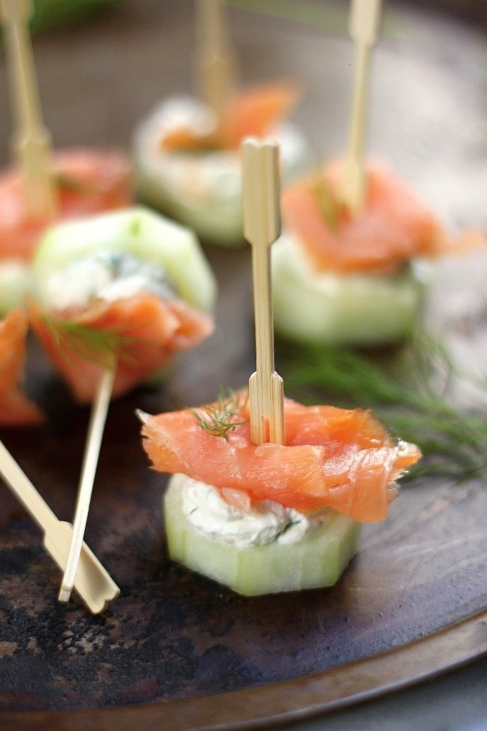 Smoked Salmon and Cream Cheese Cucumber Bites, perfect Oscar viewing party appetizer!