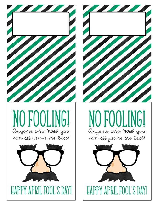 Cute Free Printable April Fool's Day Goodie! Love this idea for classmate gifts or party favors! Pizzazzerie.com