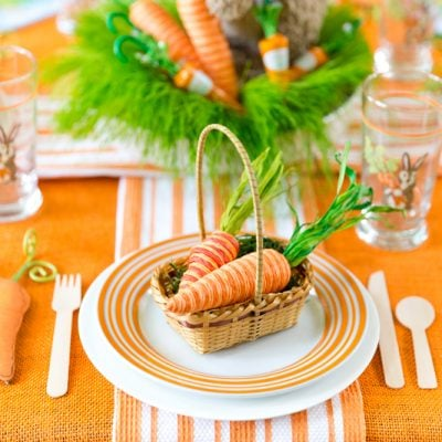 Orange and Green Easter Party with Tips for Setting the Table! Pizzazzerie.com
