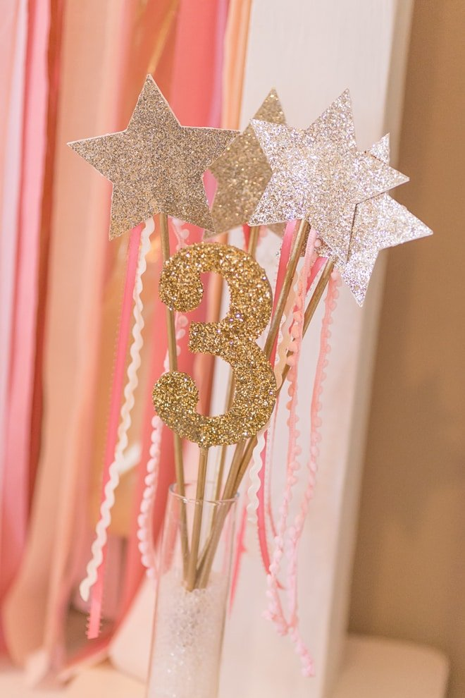 Pink and gold princess 3rd birthday party pizzazzerie for Gold party