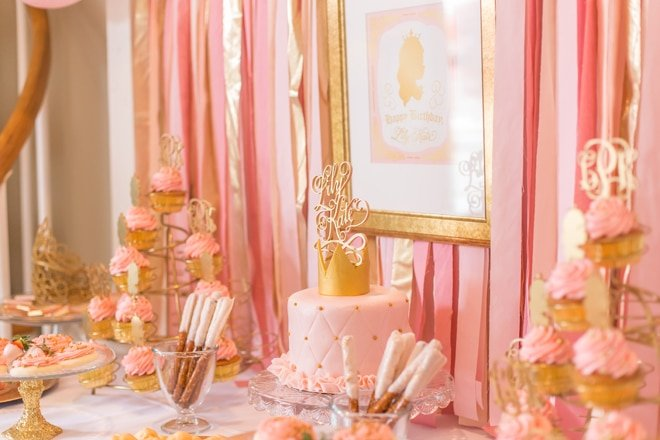 pink and gold princess 3rd birthday party pizzazzerie