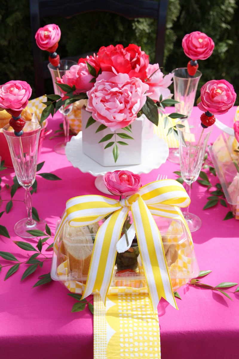 Gorgeous bright pink and yellow spring luncheon party tablescape, Pizzazzerie.com