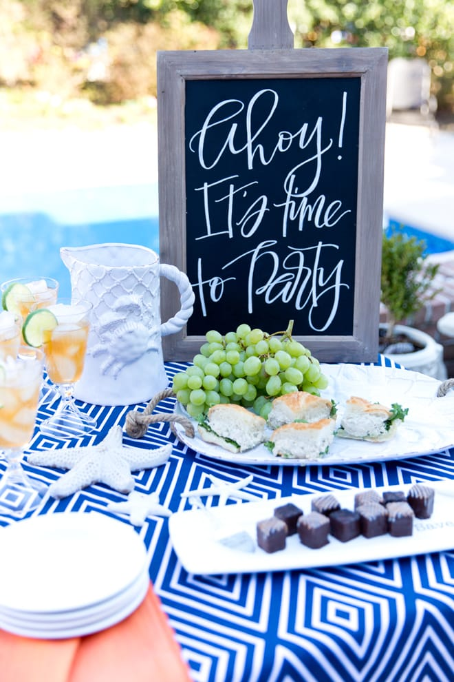 Nautical Party by the pool! Cute items with links to buy!