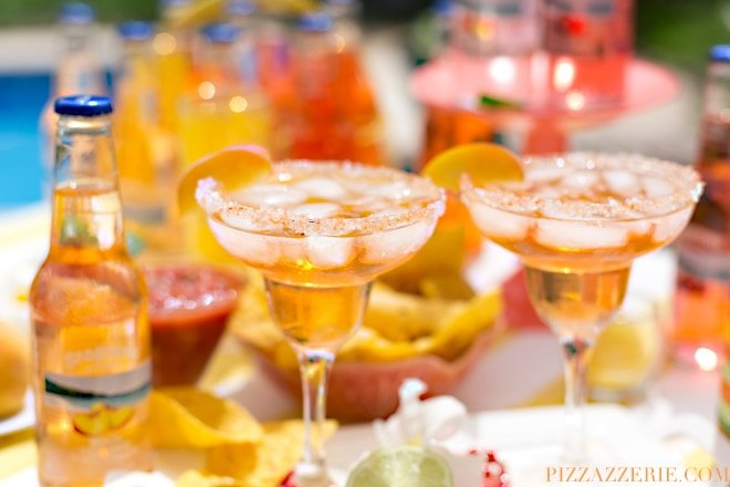 Peach Fuzzy Navel Margarita, delicious twist on the classic for Cinco de Mayo | Pizzazzerie.com