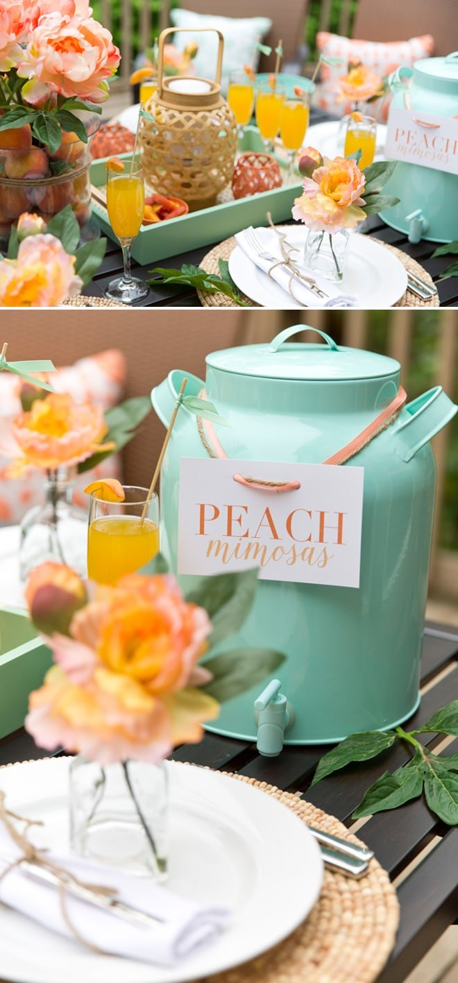 Style a gorgeous Peach & Mint Spring Brunch! All items from Target! Pizzazzerie.com