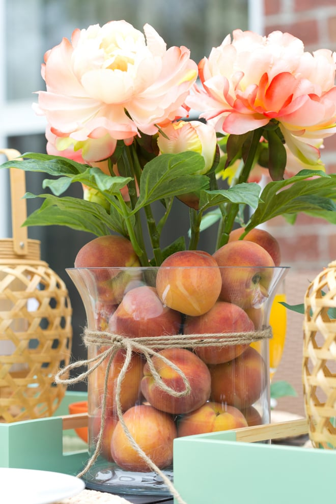 Peach Filled Vase with Peach Peonies