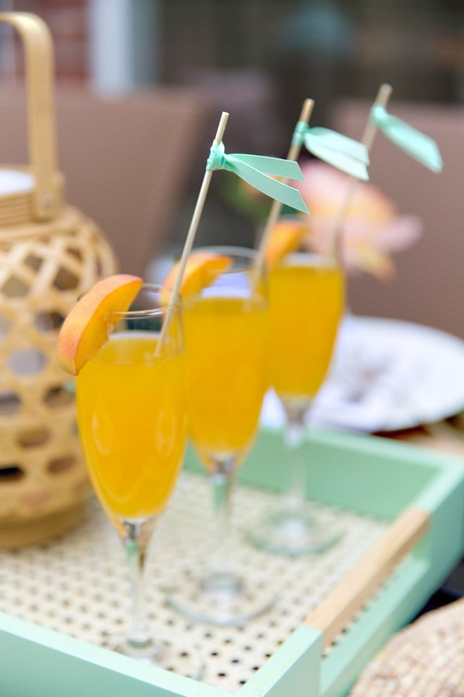 Peach Mimosas, the perfect beverage for a Spring Brunch