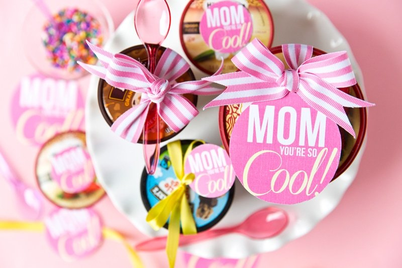 "Mother's Day Free Printable: You're so ""Cool"" Gift Tag, ice cream gift idea!"