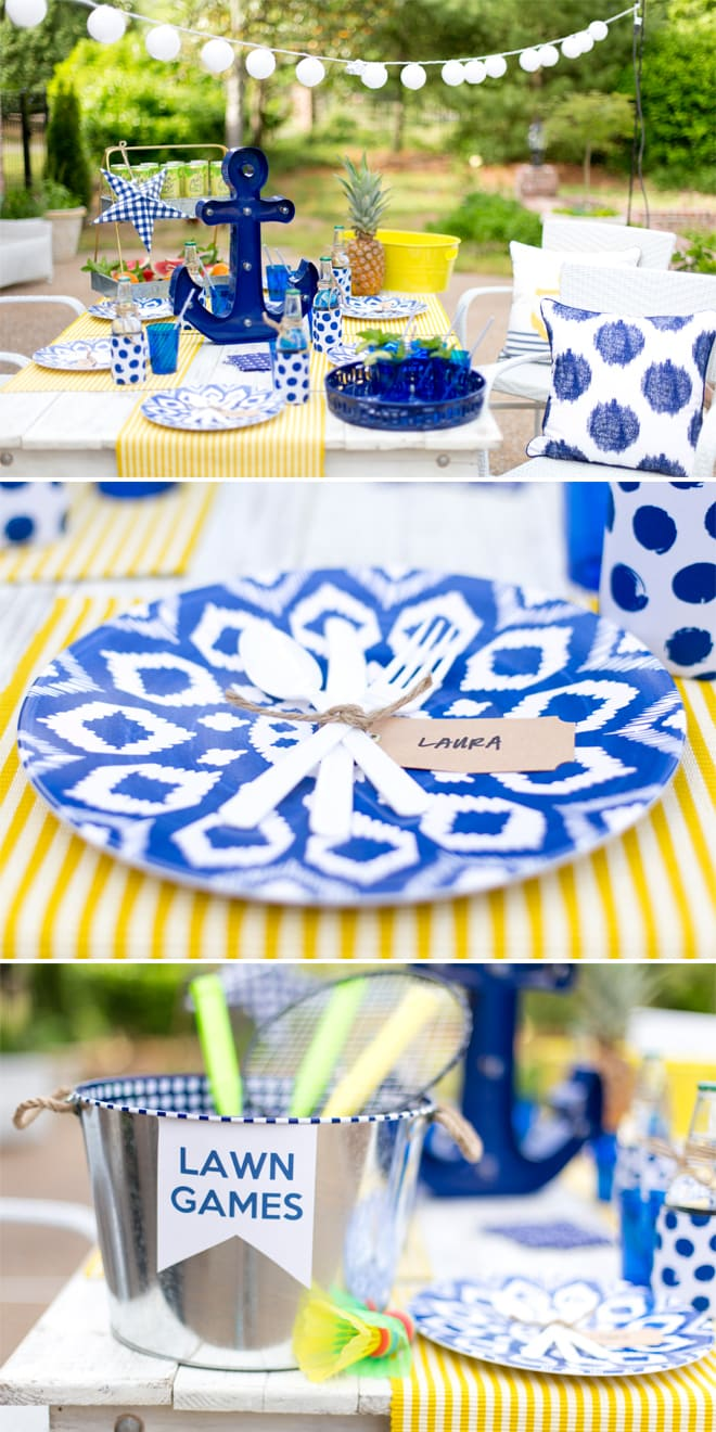 Tips for styling the perfect Nautical Dinner Party! Pizzazzerie.com