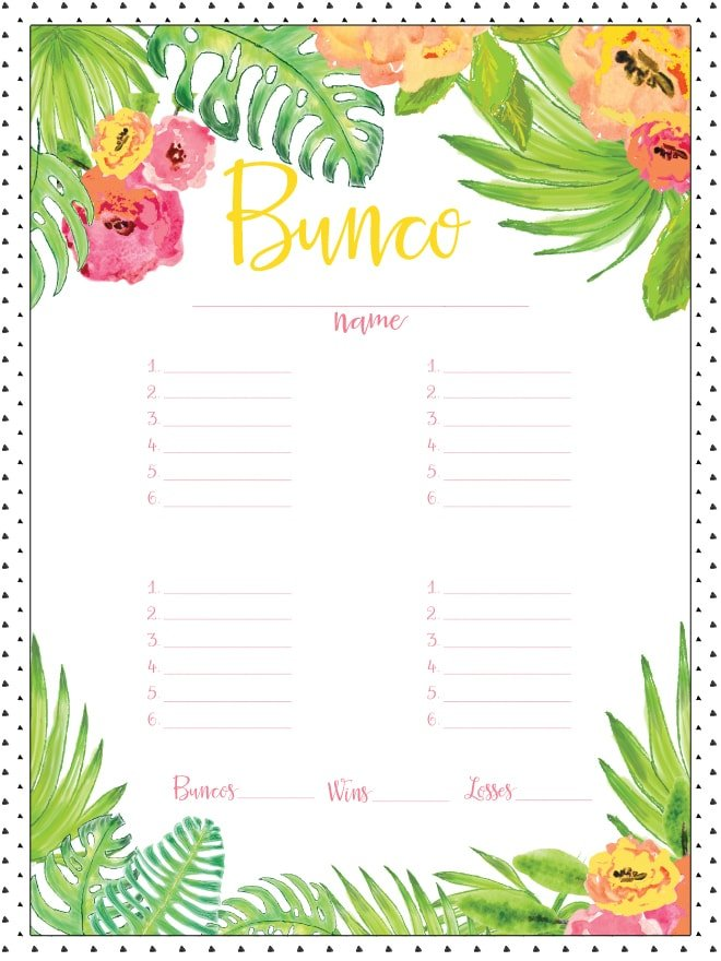 Free Printable Bunco Board for Girl's Game Night! Pizzazzerie.com