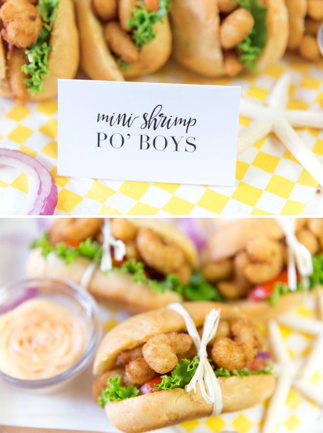 Serve up mini spicy shrimp po' boys! Recipe is delicious!