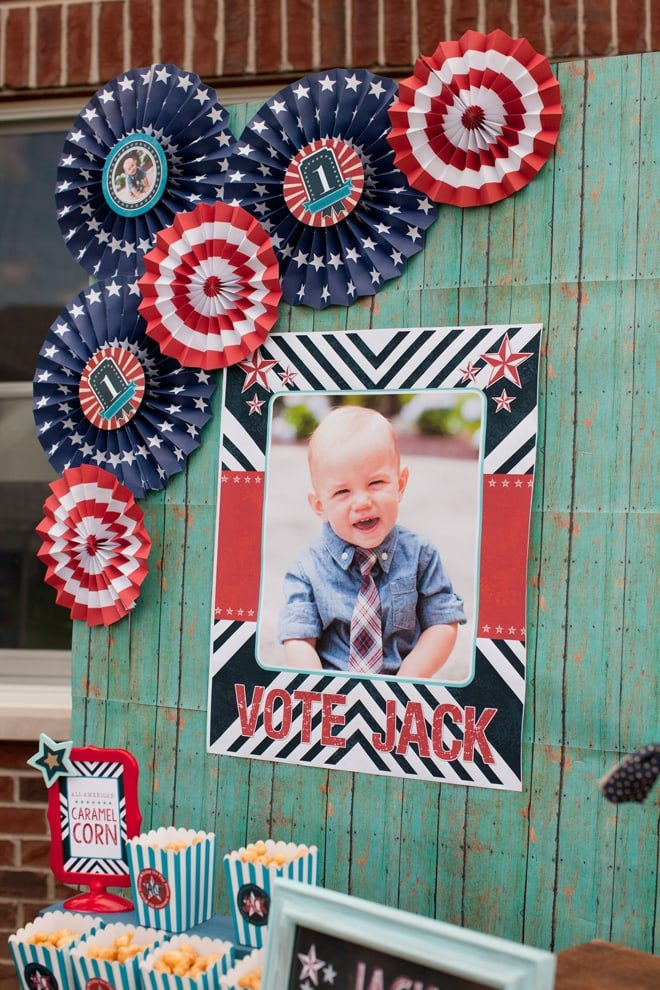 red white and blue patriotic first birthday party