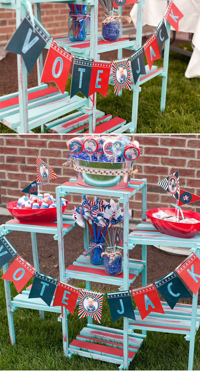Red White Blue Patriotic First Birthday Party Pizzazzerie