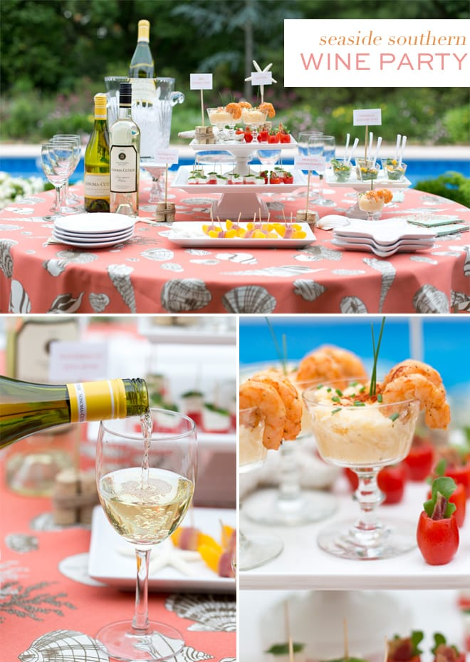 Host a Seaside Southern Wine Party with lots of tips for appetizers and party food!