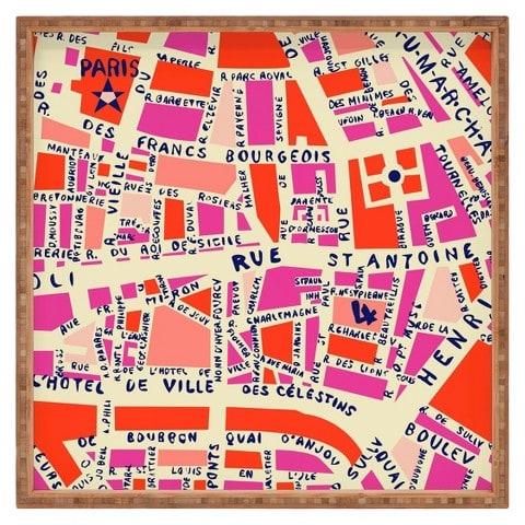 Paris City Map Trinket Tray