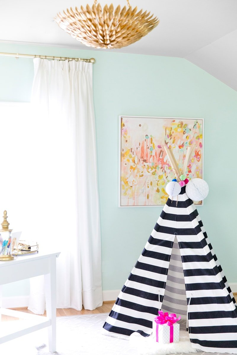 Striped teepee in my home office!