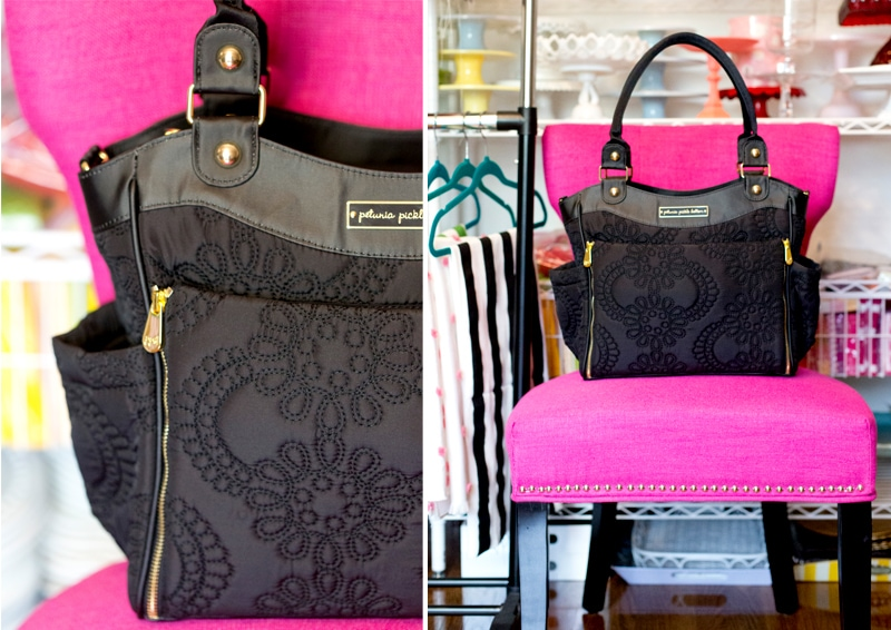 Favorite New Diaper Bag | Black and Gold from Petunia Pickle Bottom!