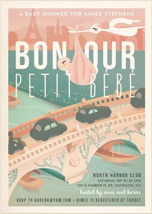 Bonjour Petit Bebe Baby Shower Invitation