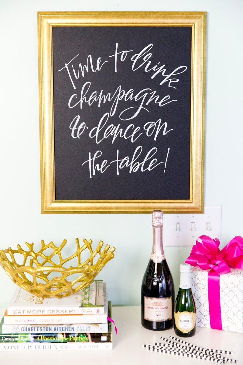 Dream Home Office, Time to Drink Champagne & Dance on the Table Calligraphy Print