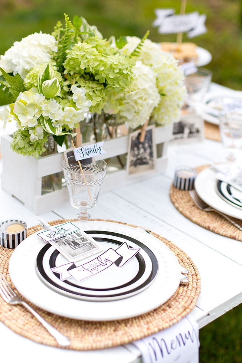 Style a gorgeous family celebration tablescape. Free Printables in post!