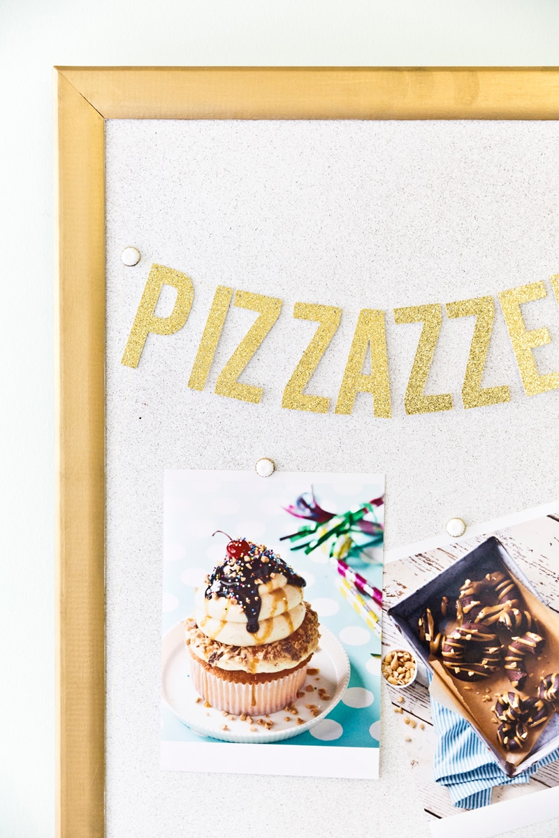 DIY Gold + White Cork Board for Home Office! LOVE! Pizzazzerie.com