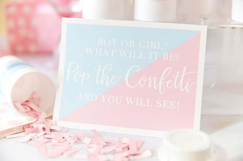 Boy or Girl? What Will it Be! Pop the Confetti + You Will See! Gender Reveal Party Ideas