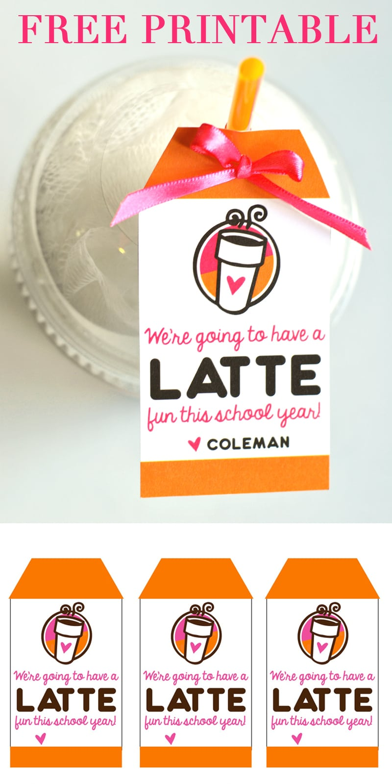 graphic relating to Thanks a Latte Printable Tag identified as A Latte Entertaining\
