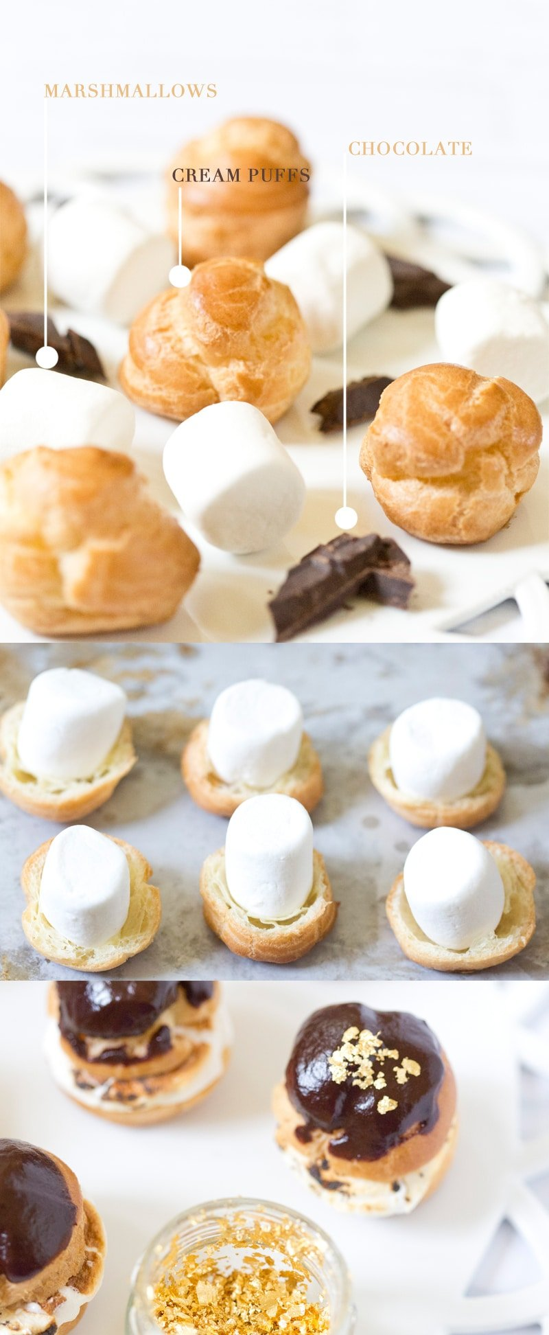 Gold Embellished S'more Cream Puffs | Pizzazzerie.com