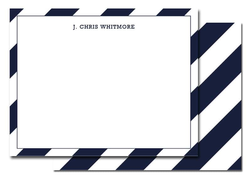 Navy and White Striped Thank You Notes for Guys