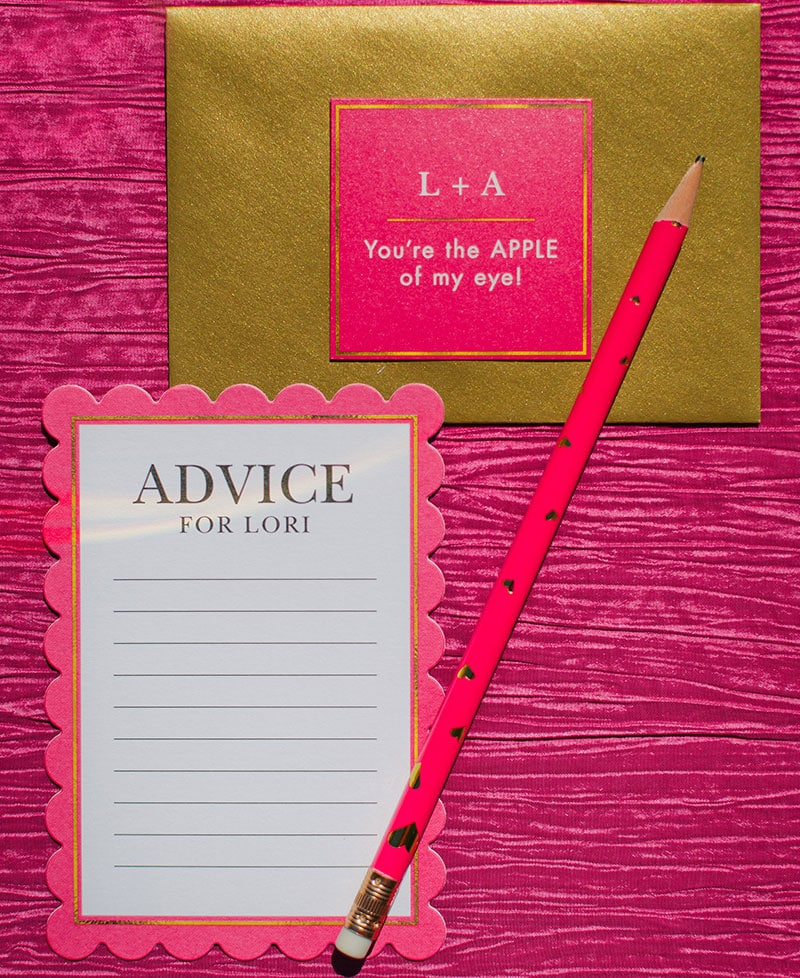 """Advice for Bridal Shower, Fun """"You're The Apple of My Eye"""" Theme!"""