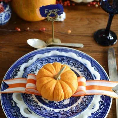 blue and white fall table setting