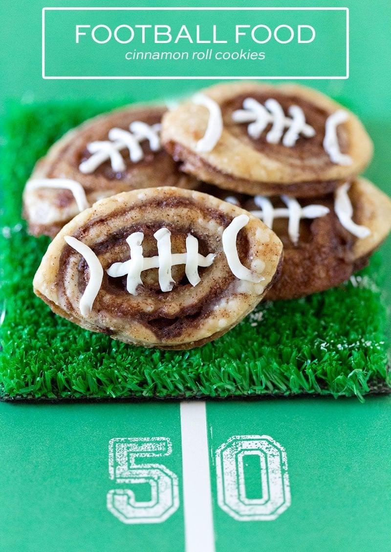 SO GOOD! Football Cinnamon Roll Cookies for Tailgates!