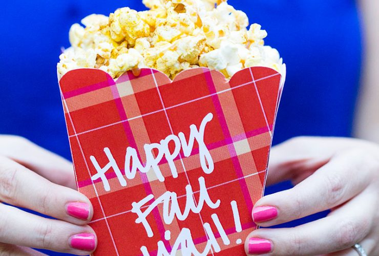 Caramel Apple Spice Popcorn + Free Printable Popcorn Box