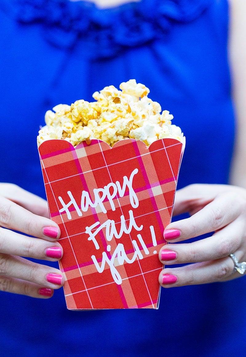 Caramel Apple Spice Popcorn + Free Printable Popcorn Box