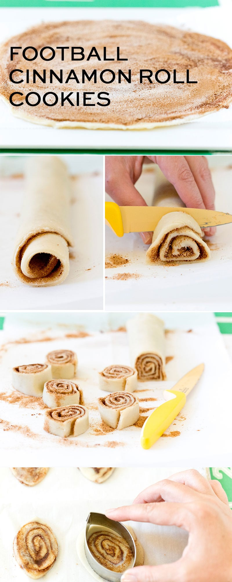 Step-By-Step Instructions for making delicious Football Cinnamon Roll Cookies, the perfect treat for tailgates!