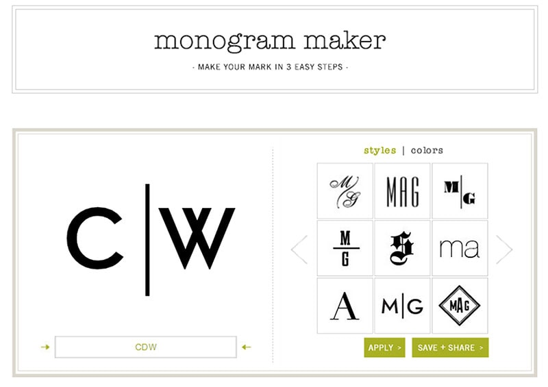 OBSESSED. You can create and save your monogram in lots of different styles.
