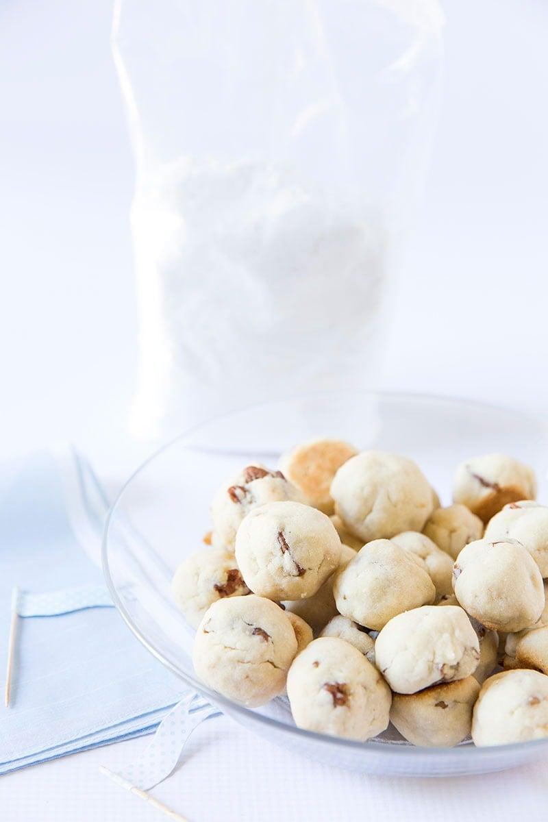 Snowball Cookies ready for their Powdered Sugar bath!