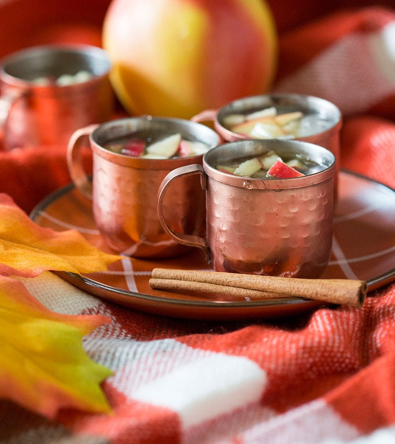 Mini Apple Cinnamon Moscow Mules, perfect fall drink!