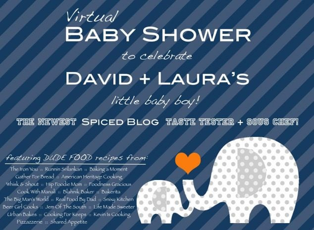 Navy and White Elephant Baby Shower Invitation