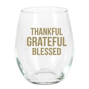 Thankful Grateful Blessed Stemless Wine Glass